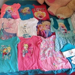 Disney Frozen Lot 9 shirts, 1 outfit, gloves, band